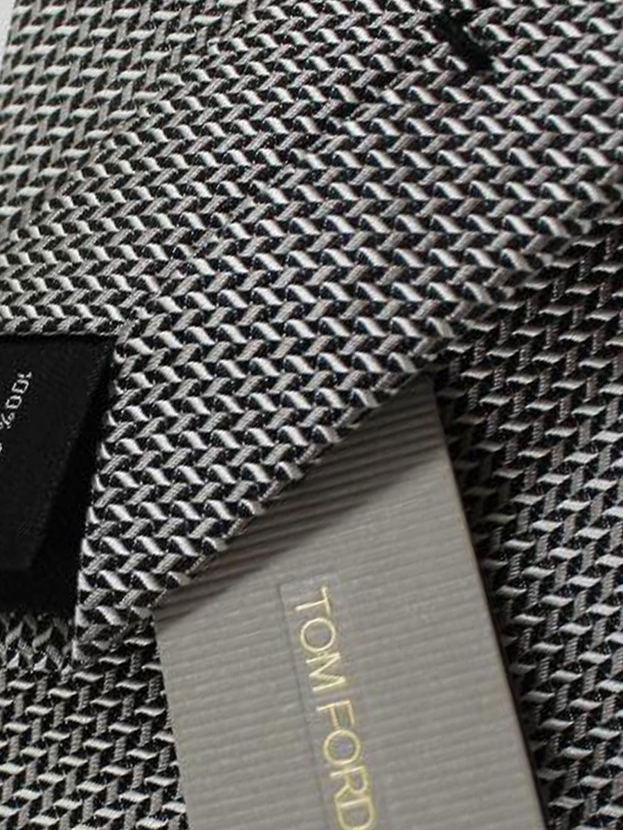 Tom Ford Tie Silver Grey Geometric Silk