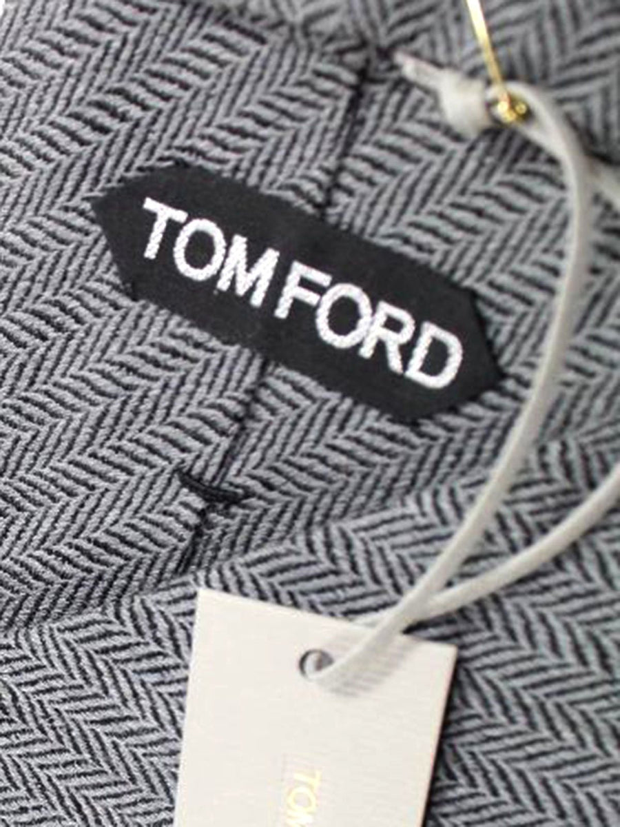 Tom Ford Tie Grey Herringbone - Wide Necktie