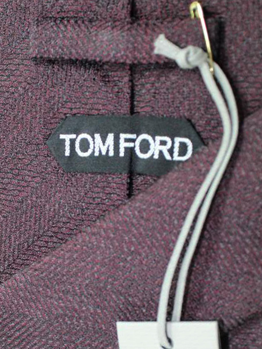 Tom Ford Tie Black Burgundy Herringbone - Wide Necktie