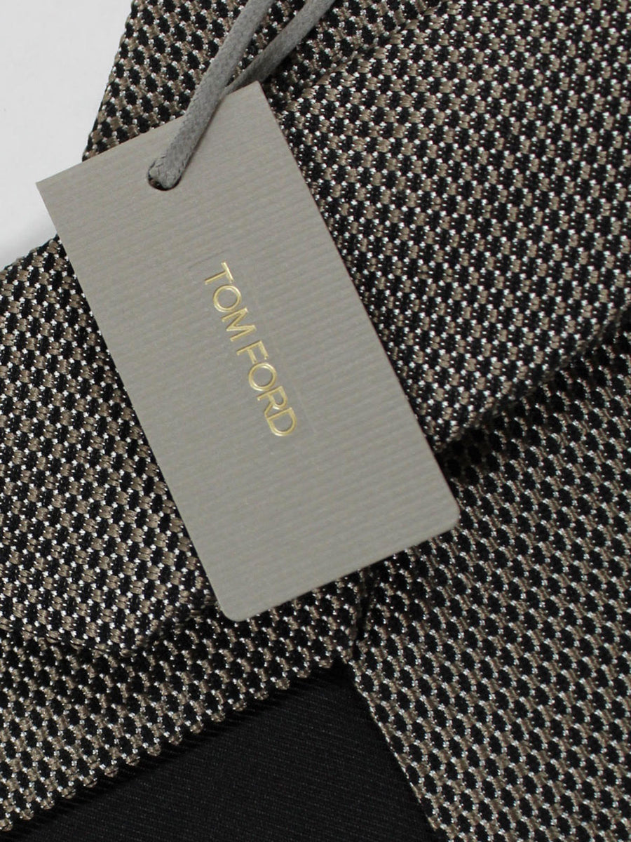 Tom Ford Tie Black Taupe Silver Check - Wide Necktie