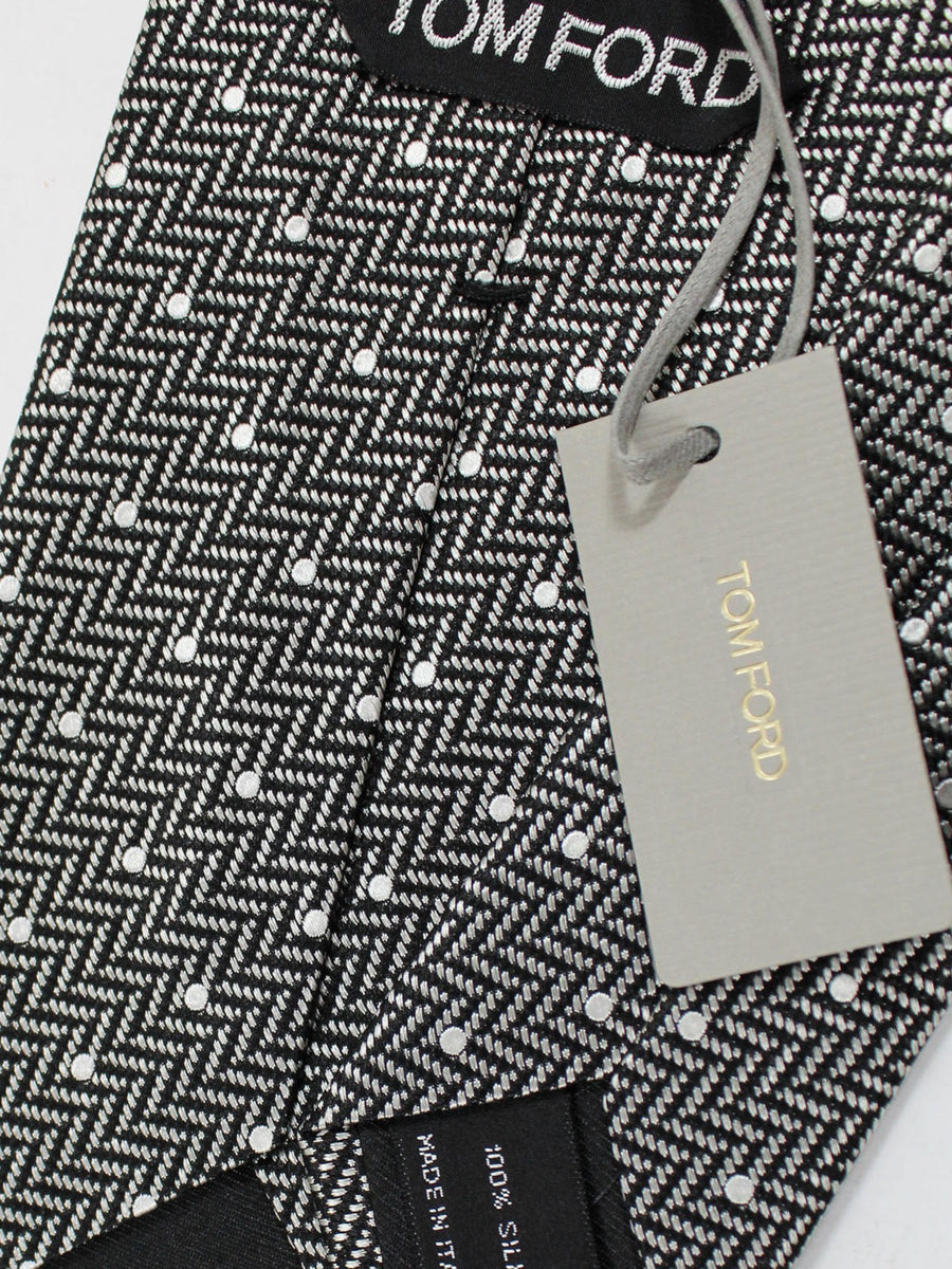Tom Ford Tie Black Silver Herringbone - Wide Necktie
