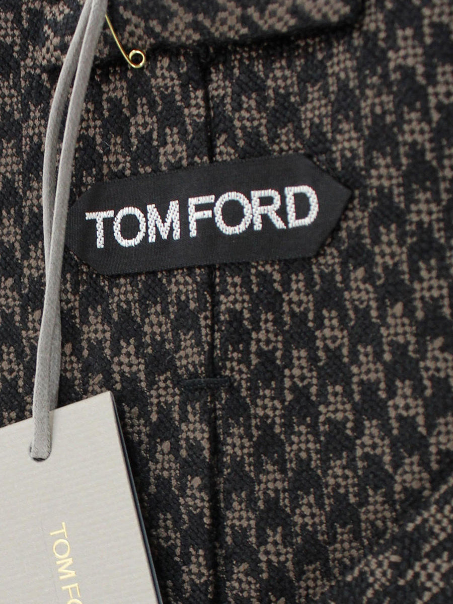 Tom Ford Tie Black Taupe Houndstooth - Wide Necktie