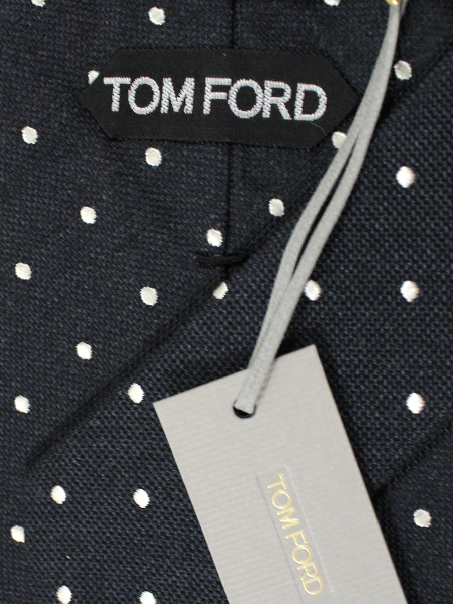 Tom Ford Tie Black Silver Polka Dots - Wide Necktie