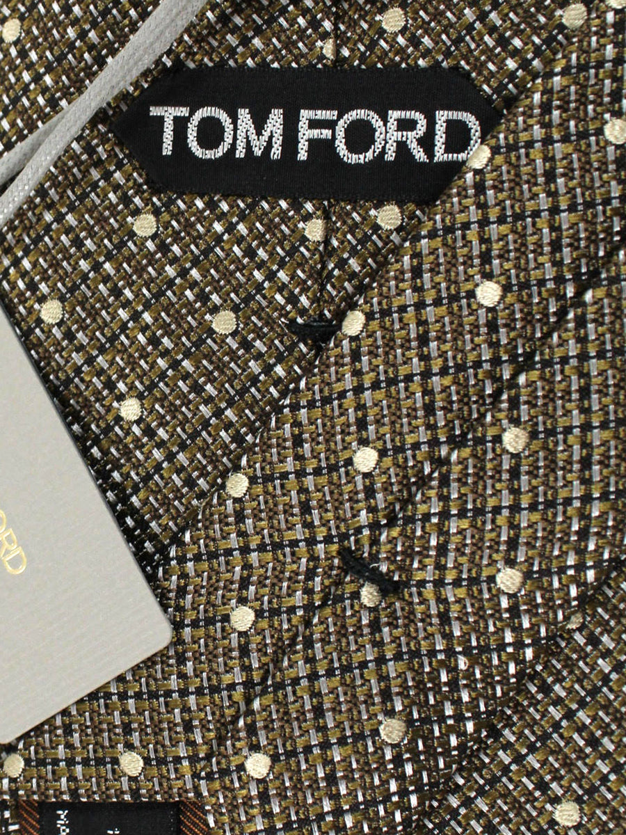Tom Ford Tie Gray Taupe Dots - Wide Necktie