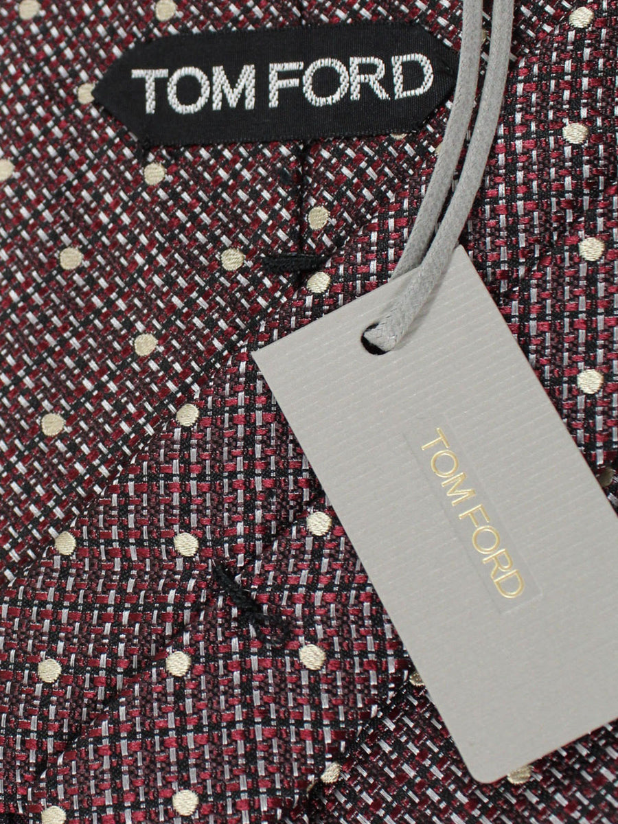 Tom Ford Tie Gray Maroon Black Dots - Wide Necktie