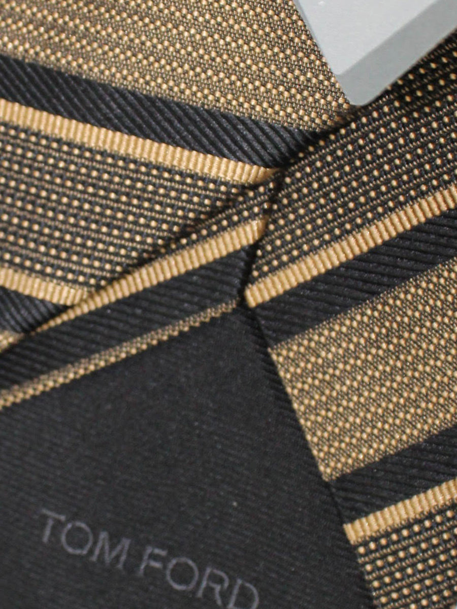 Tom Ford Tie Brown Black Stripes Silk