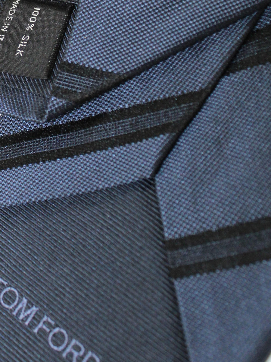 Tom Ford Silk Tie Dark Blue Black Stripes