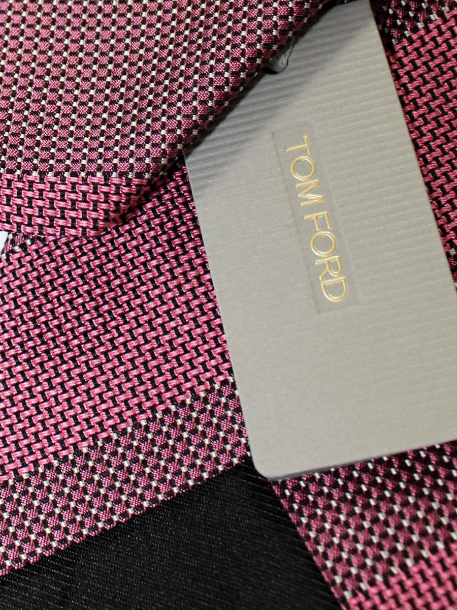 Tom Ford Silk Tie Pink Silver Stripes