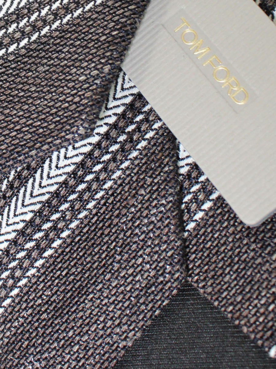 Tom Ford Linen Silk Tie Black Silver Stripes