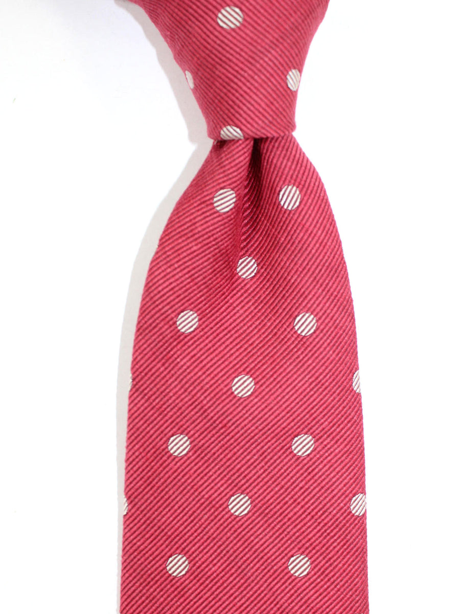 Tom Ford Linen Silk Tie Cranberry Polka Dots