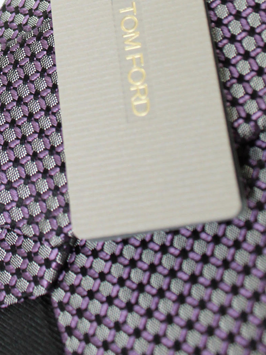 Tom Ford Silk Tie Charcoal Purple Geometric
