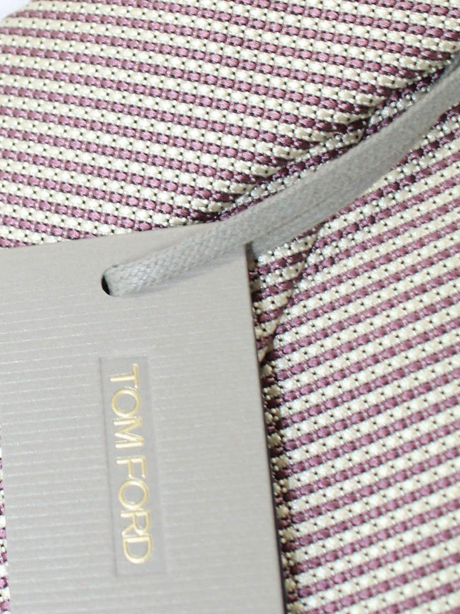 Tom Ford Silk Tie Silver Dust Pink Stripes