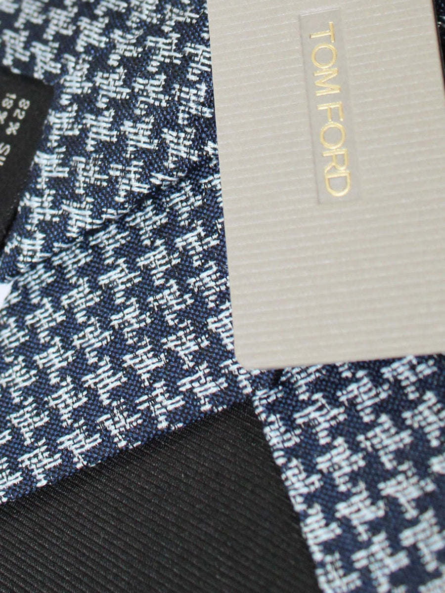 Tom Ford Silk Tie Dark Blue Silver Geometric