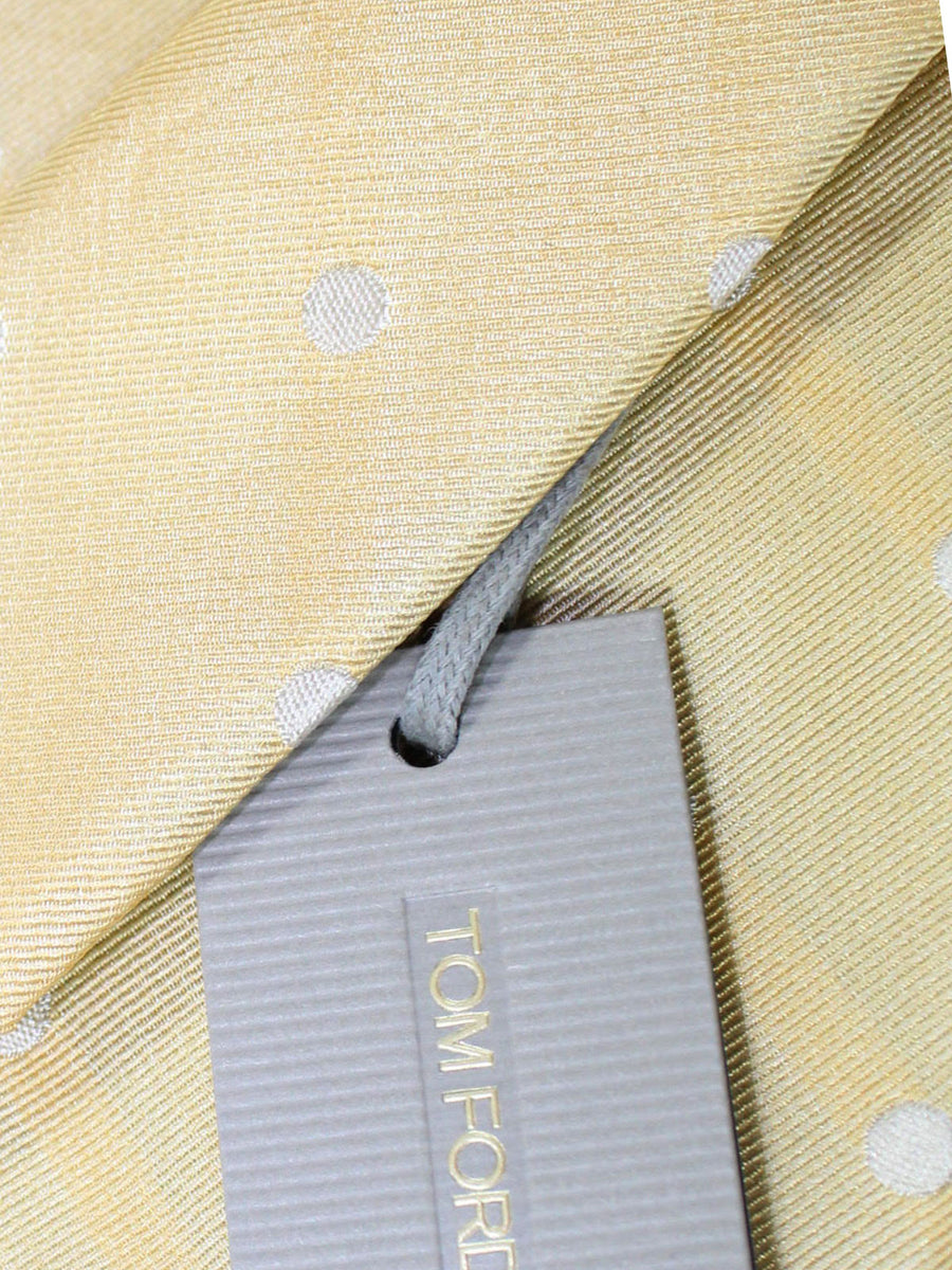 Tom Ford Linen Silk Tie Yellow Silver Polka Dots