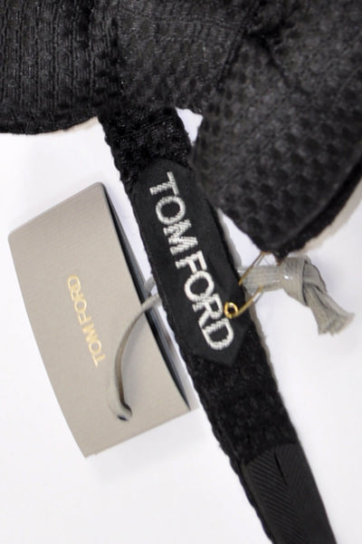 Tom Ford Bow Tie Black Textured  Made In Italy