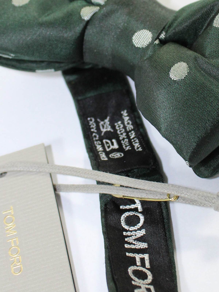 Tom Ford Bow Tie Dark Ceylon Green Polka Dots
