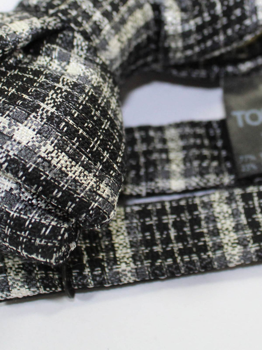 Tom Ford Bow Tie Black Gray Cream Plaid BLACK FRIDAY SALE