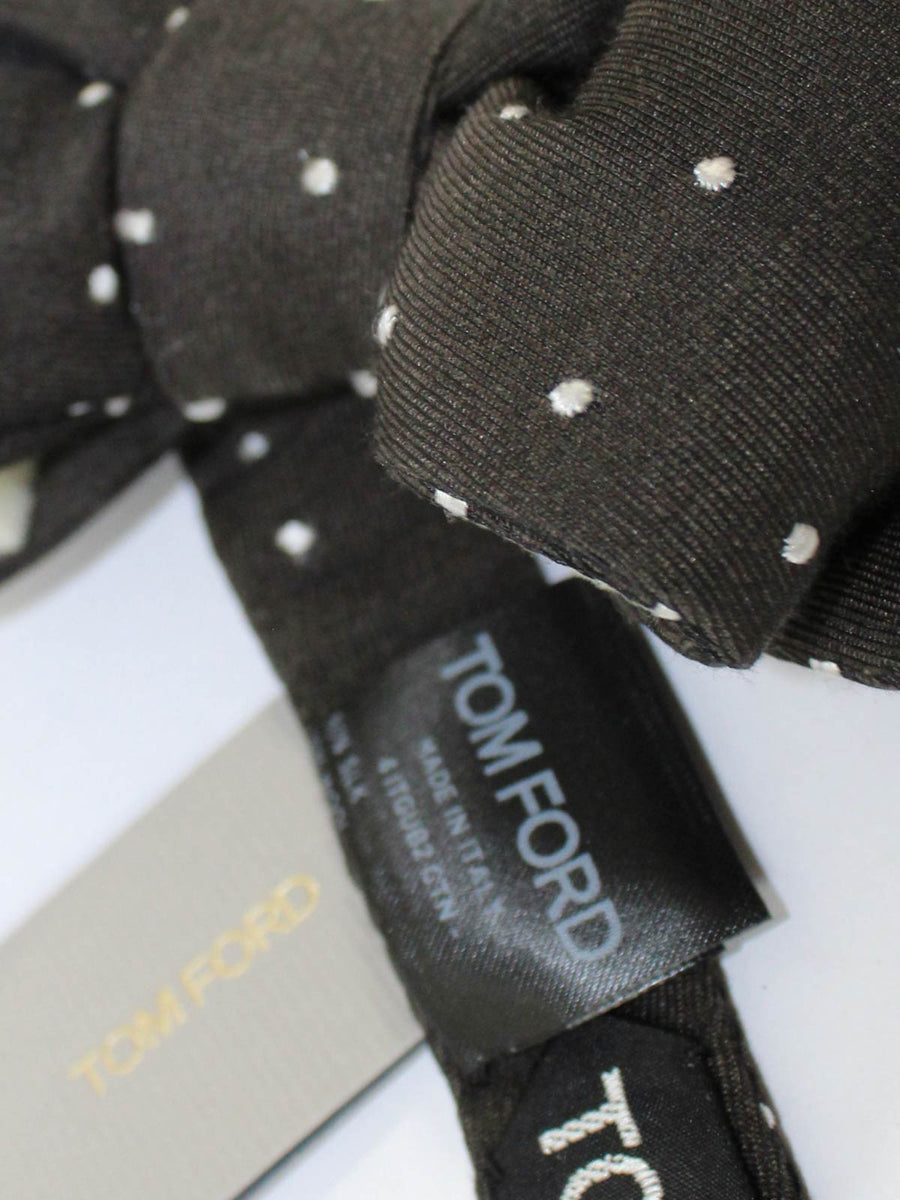 Tom Ford Bow Tie Brown Dots Wool Silk