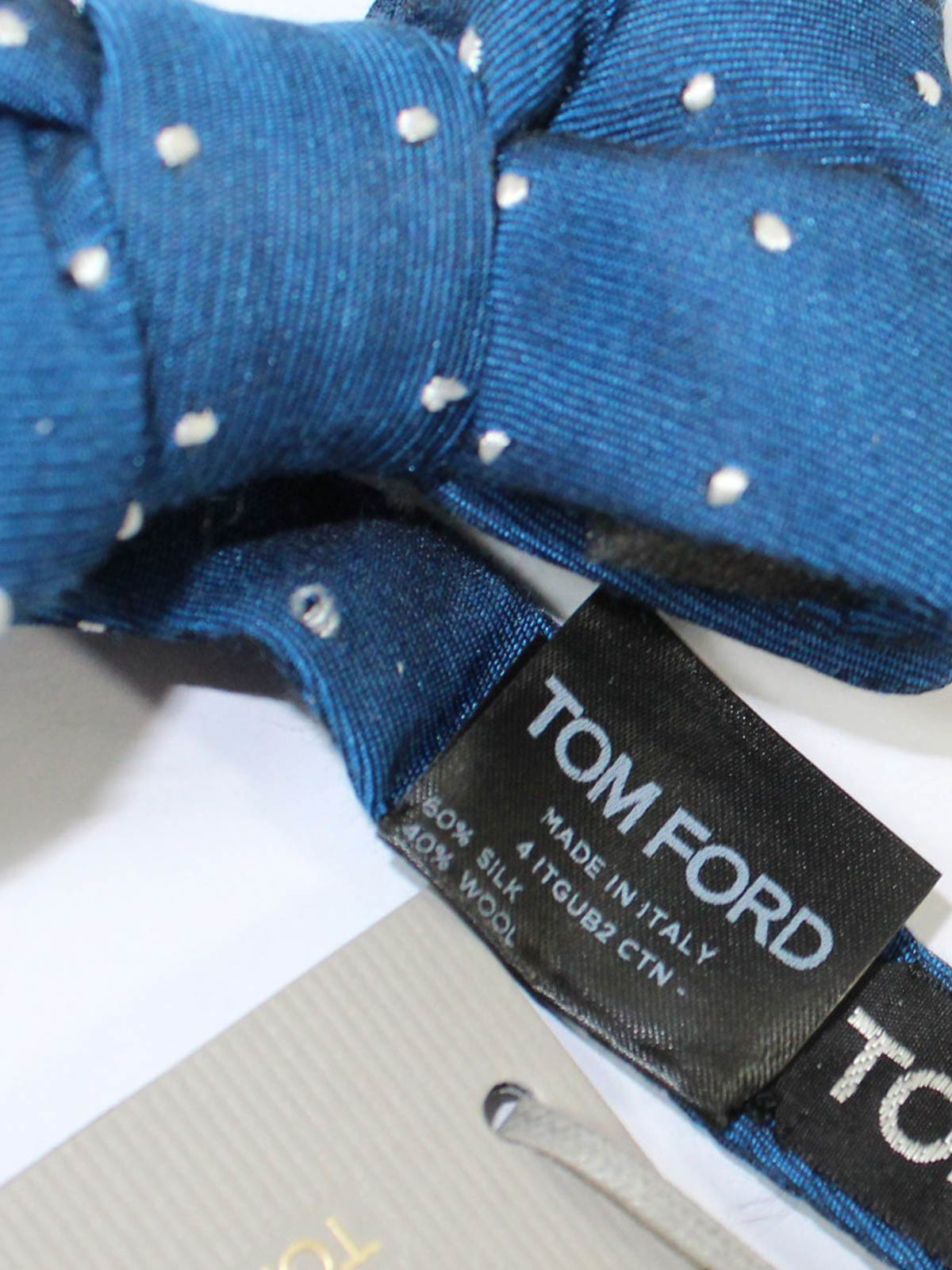 Tom Ford Bow Tie Dark Blue Silver Dots Wool Silk
