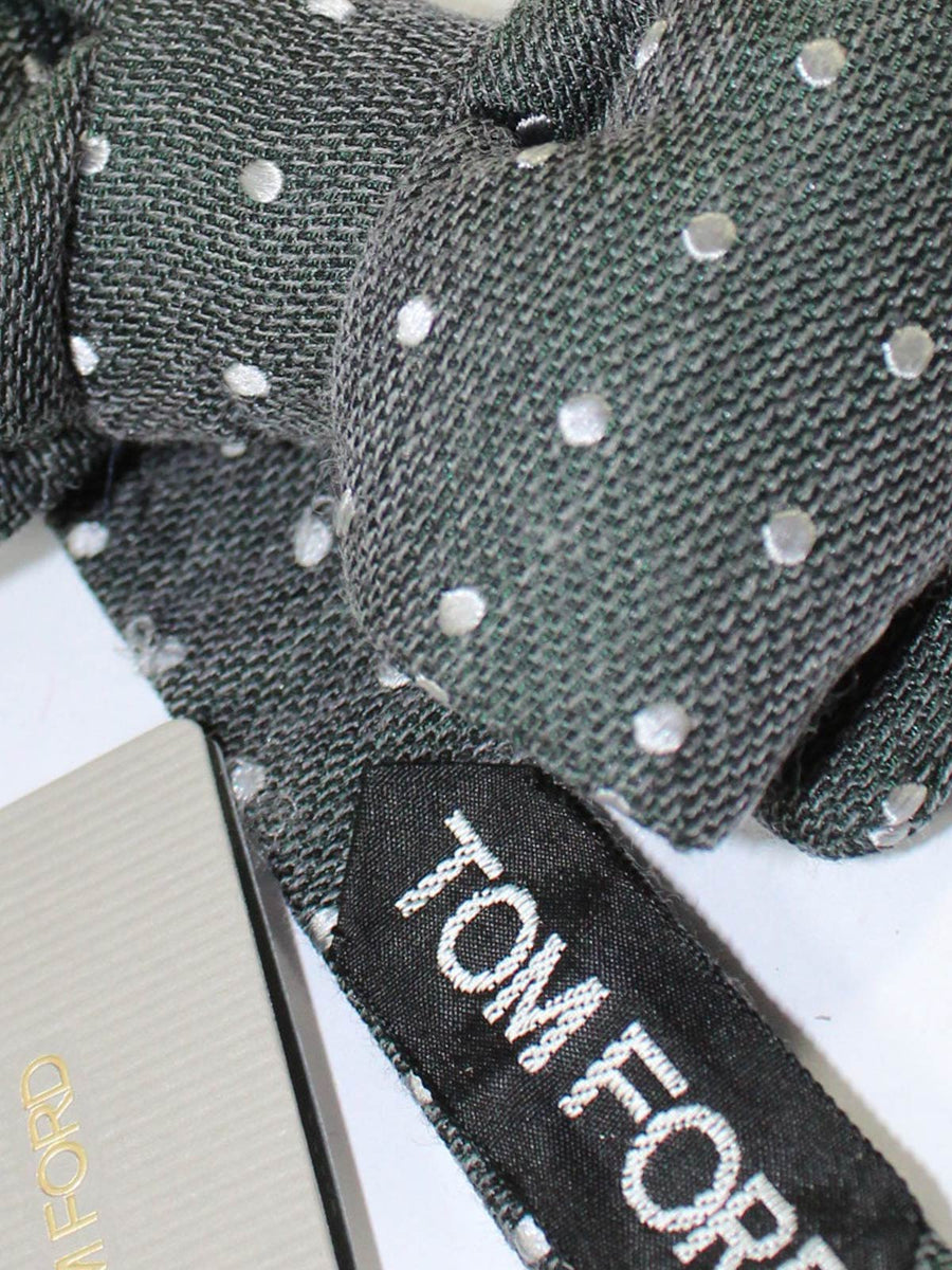 Tom Ford Bow Tie Charcoal Green Dots Wool Silk SALE