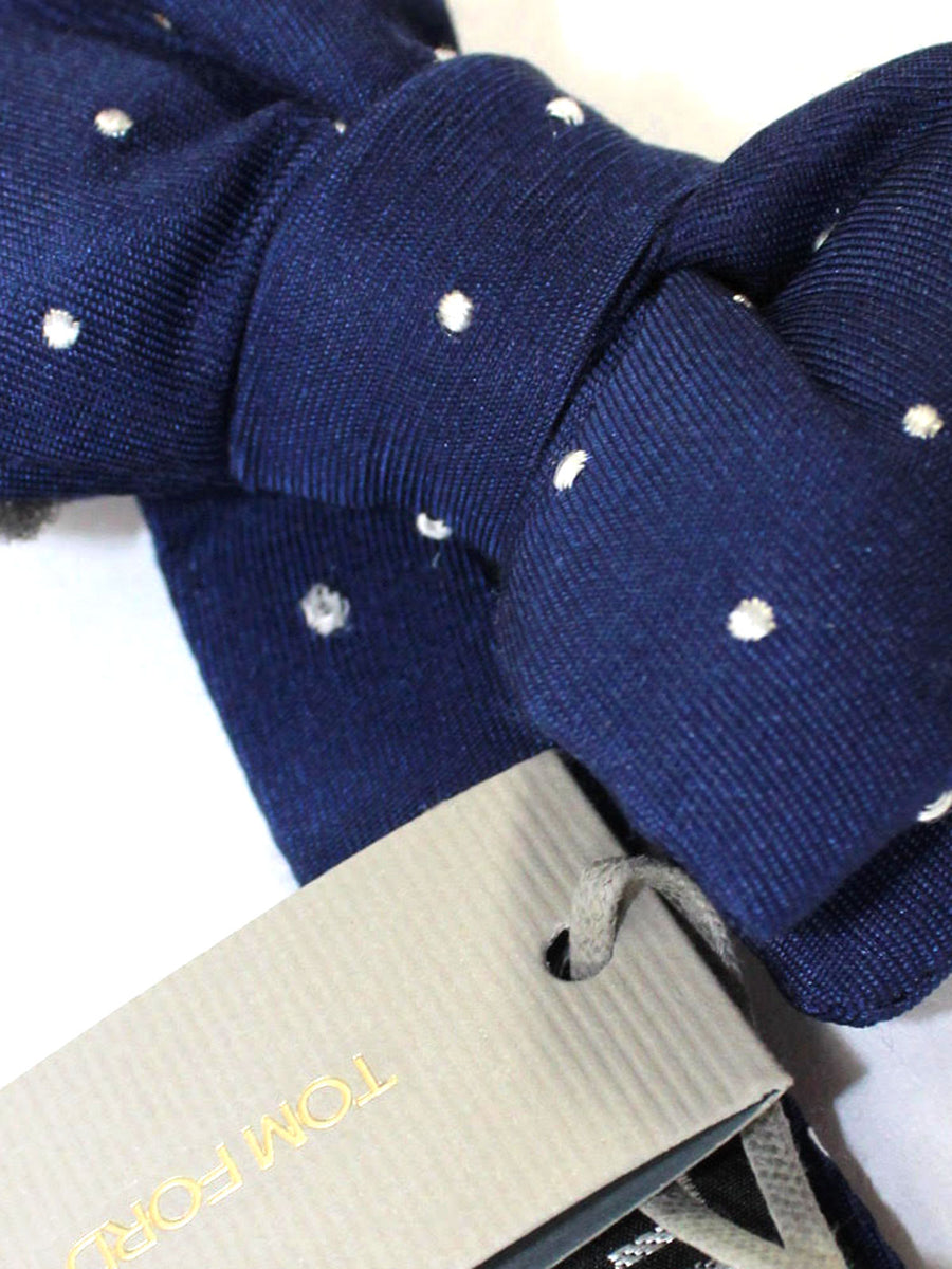 Tom Ford Bow Tie Navy Silver Dots
