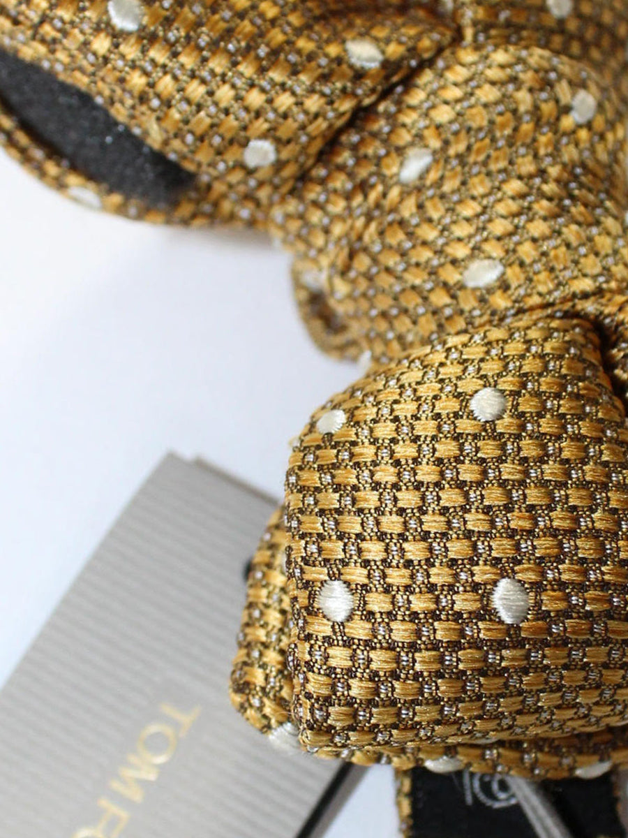 Tom Ford Silk Bow Tie Mustard Silver Dots