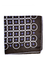 Tom Ford Silk Pocket Square Brown Purple Circles