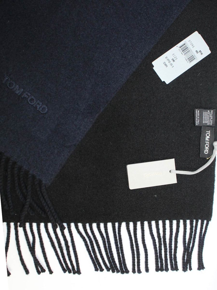 Tom Ford Wool Cashmere Scarf Black Solid Extra Long
