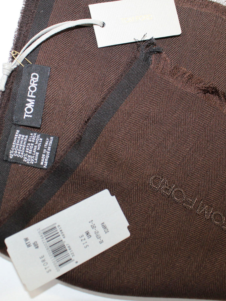 Tom Ford Cashmere Silk Wool Scarf Brown Solid