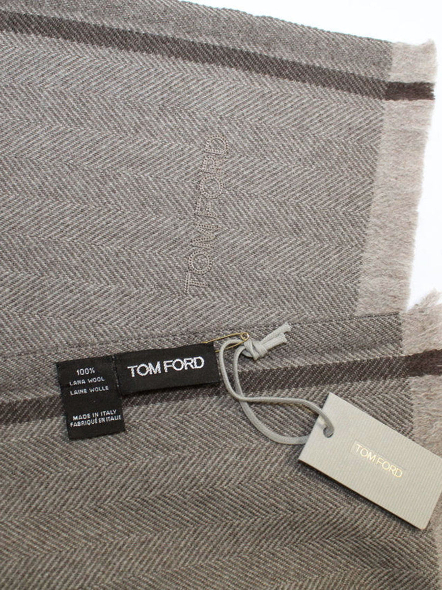 Tom Ford Wool Scarf Gray Taupe