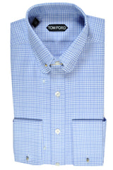 Tom Ford Pin Collar Shirt Blue White 40 - 15 3/4 SALE