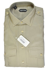 Tom Ford Shirt Khaki Silk 39 - 15 1/2 SALE