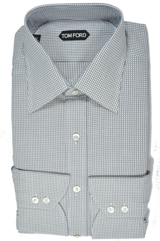 Tom Ford Dress Shirt White Black Check 44 - 17 1/2 SALE