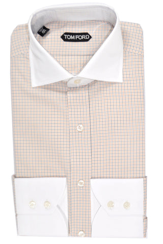 Tom Ford Dress Shirt White Navy Orange Check 40 - 15 3/4