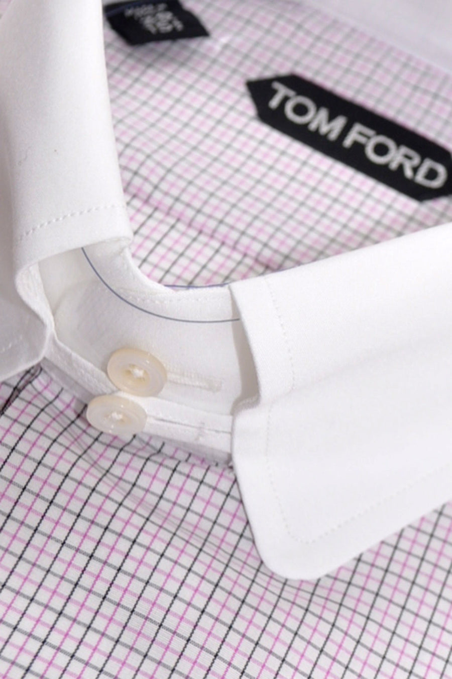 Tom Ford Dress Shirt White Navy Pink Check
