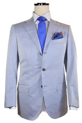 Kiton Suit Gray-Blue Stripes Cotton Wool Silk