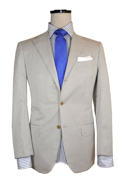 Kiton Suit Light Gray Stripes