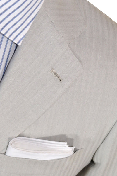 Kiton Suit Light Gray Stripes Cotton Silk EUR 48/ US 38 R SALE