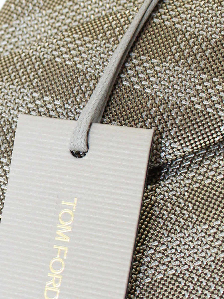 Tom Ford Silk Tie Taupe Silver Glen Check