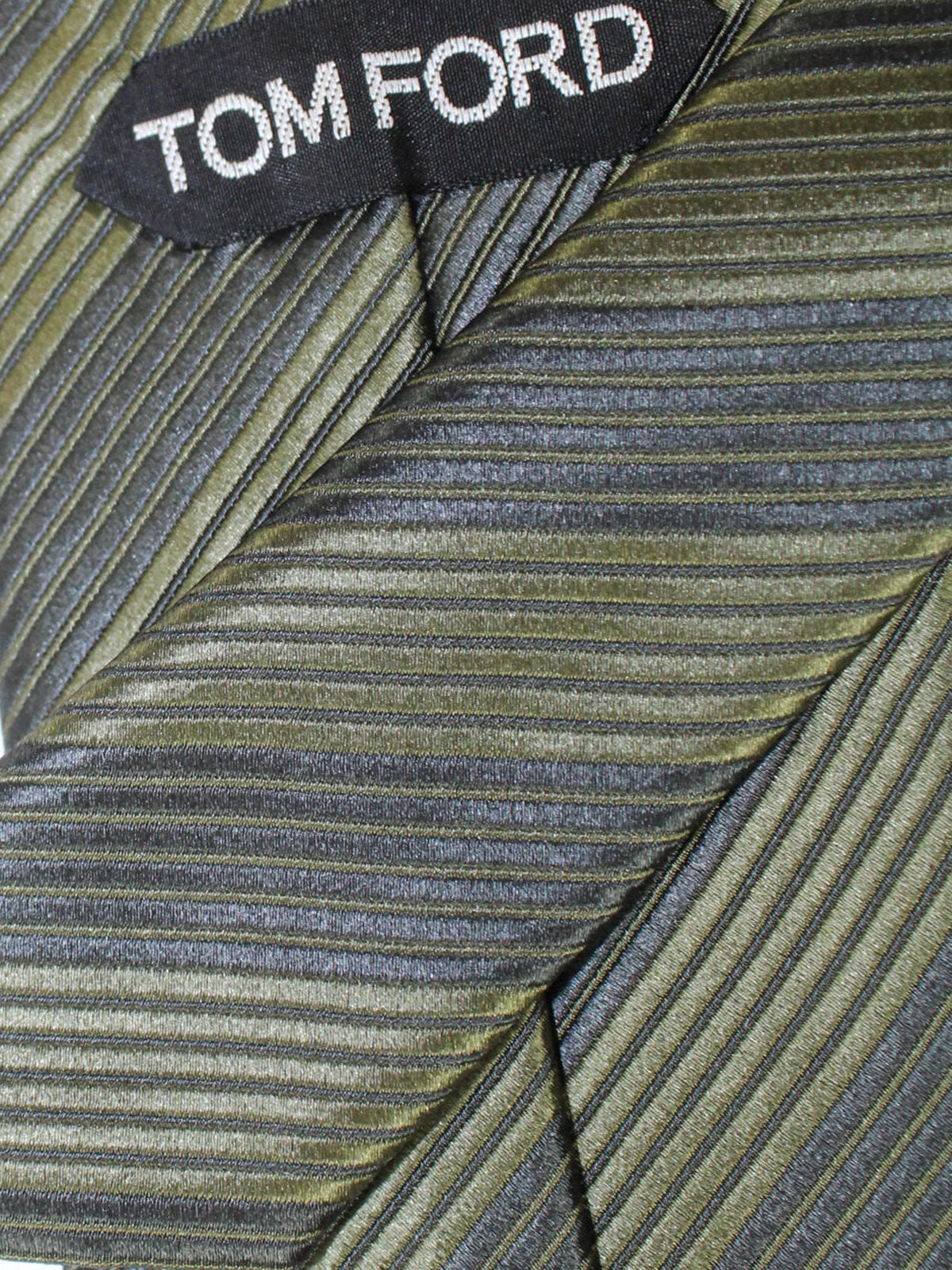 Tom Ford Silk Tie Green Stripes