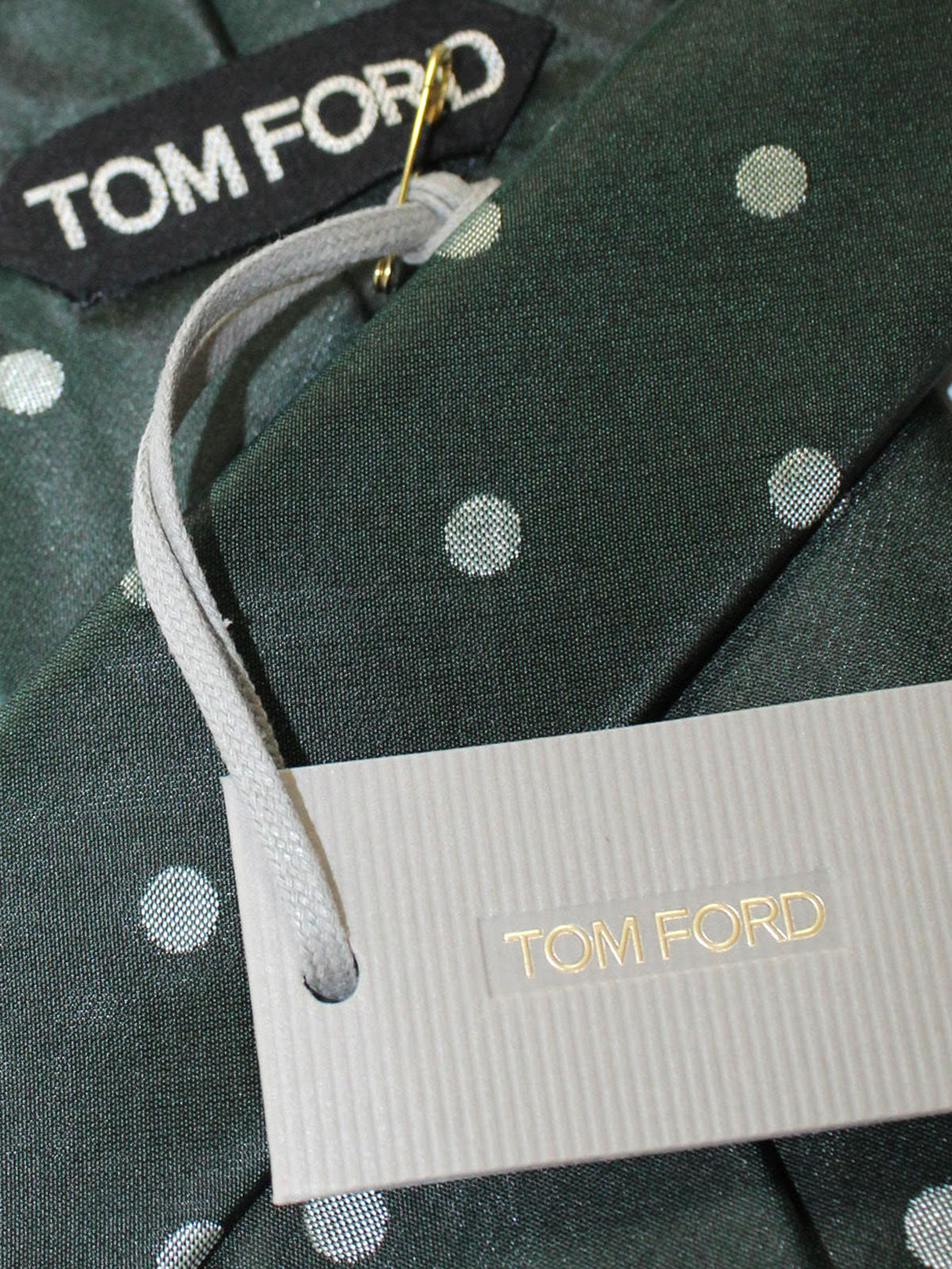 Tom Ford Tie Green Silver Polka Dots Design