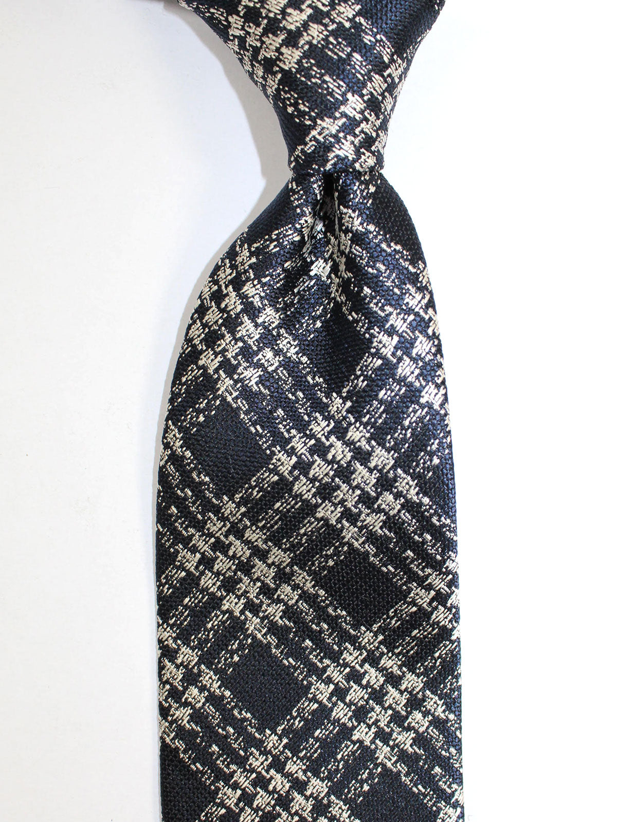 Tom Ford Tie Dark Blue Silver Glen Check Design