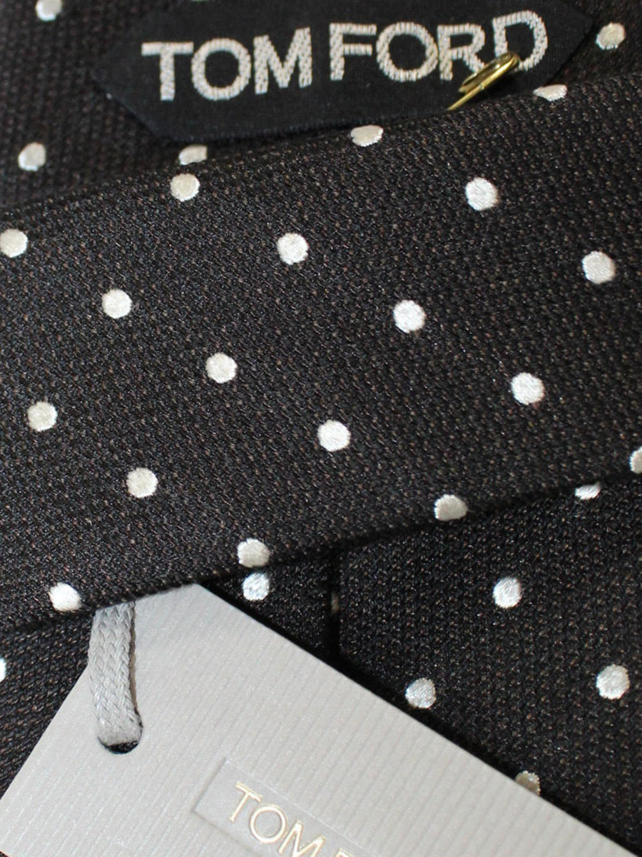 Tom Ford Wool Silk Tie Black Silver Dots
