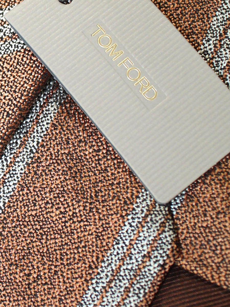 Tom Ford Tie Rust Orange Gray Stripes