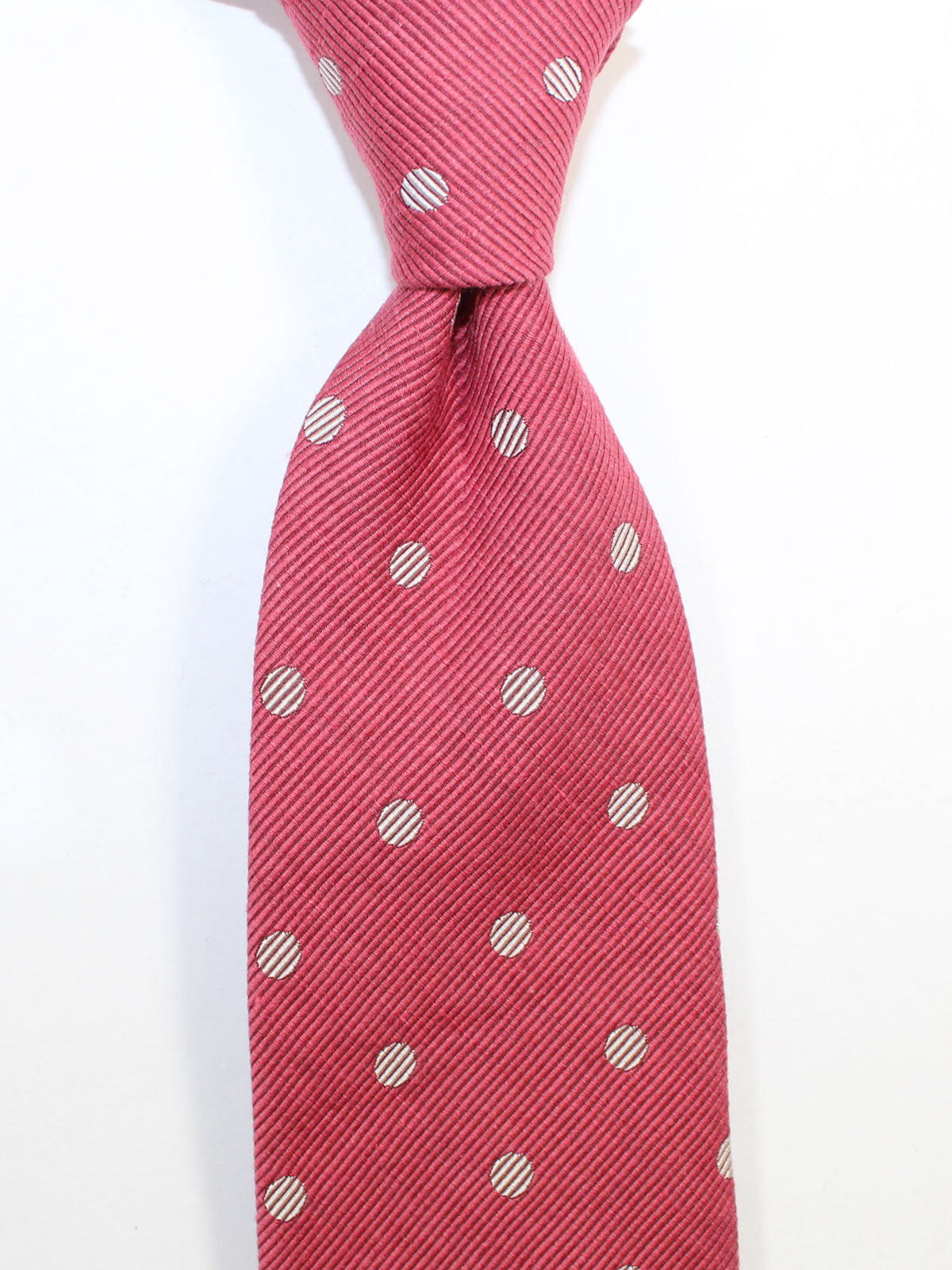 Tom Ford Linen Silk Tie Fuchsia Polka Dots Design