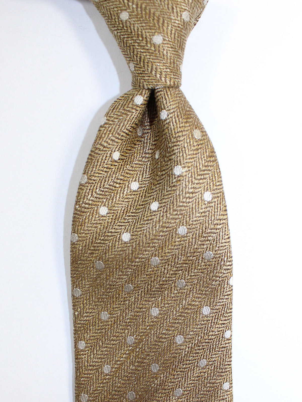 Tom Ford Linen Silk Tie Mustard Gray Dots Design