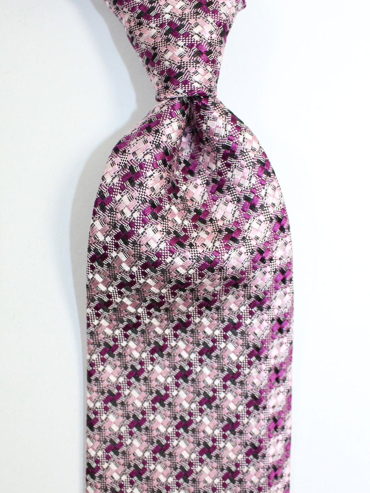 Tom Ford Silk Tie Pink Fuchsia Gray Geometric Design
