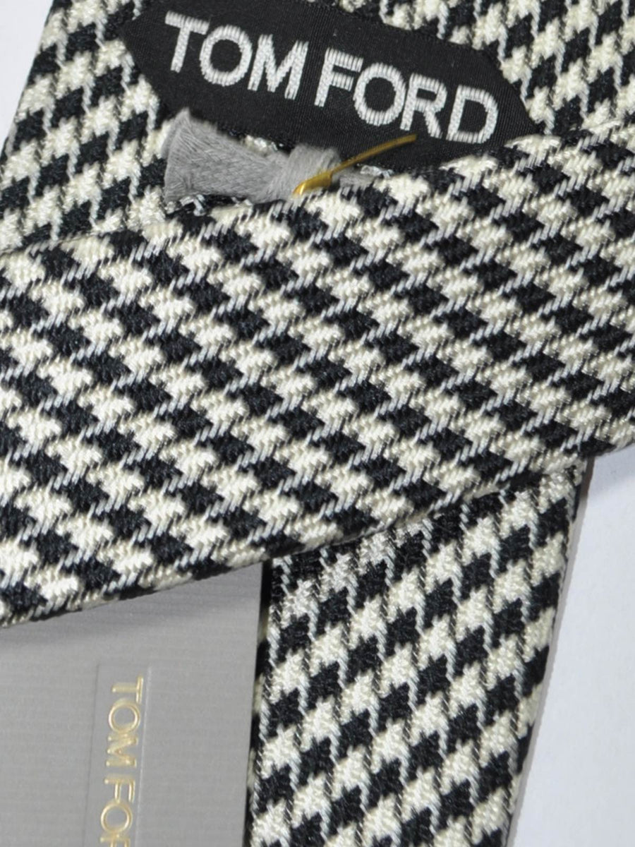 Tom Ford Tie Black Silver Houndstooth Design
