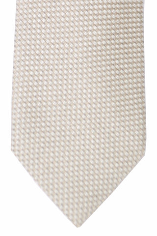 Tom Ford Silk Tie Silver Gray Cream Geometric