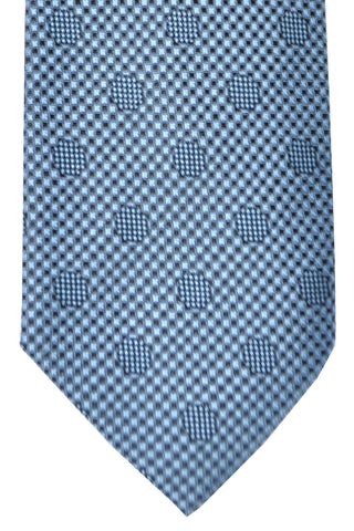 Tom Ford Tie Metallic Blue Gray Polka Dots Design